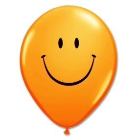 Smile Face Orange Latex 12 inch Party Balloon from Balloon Shop NYC