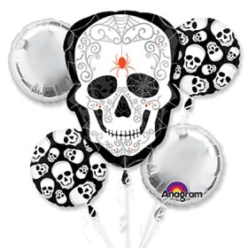 Halloween Black Bone Skull Balloon Bouquet Inflated from Balloons Shop NYC