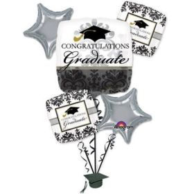 Black and White Grad Bouquet from Balloon Shop NYC 24806-01