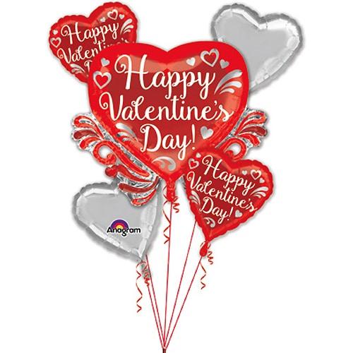 Valentines Day Balloons Bouquet Fancy Swirls
