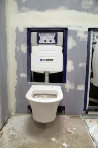 Duravit wall-hung toilet on the Geberit frame system with ...