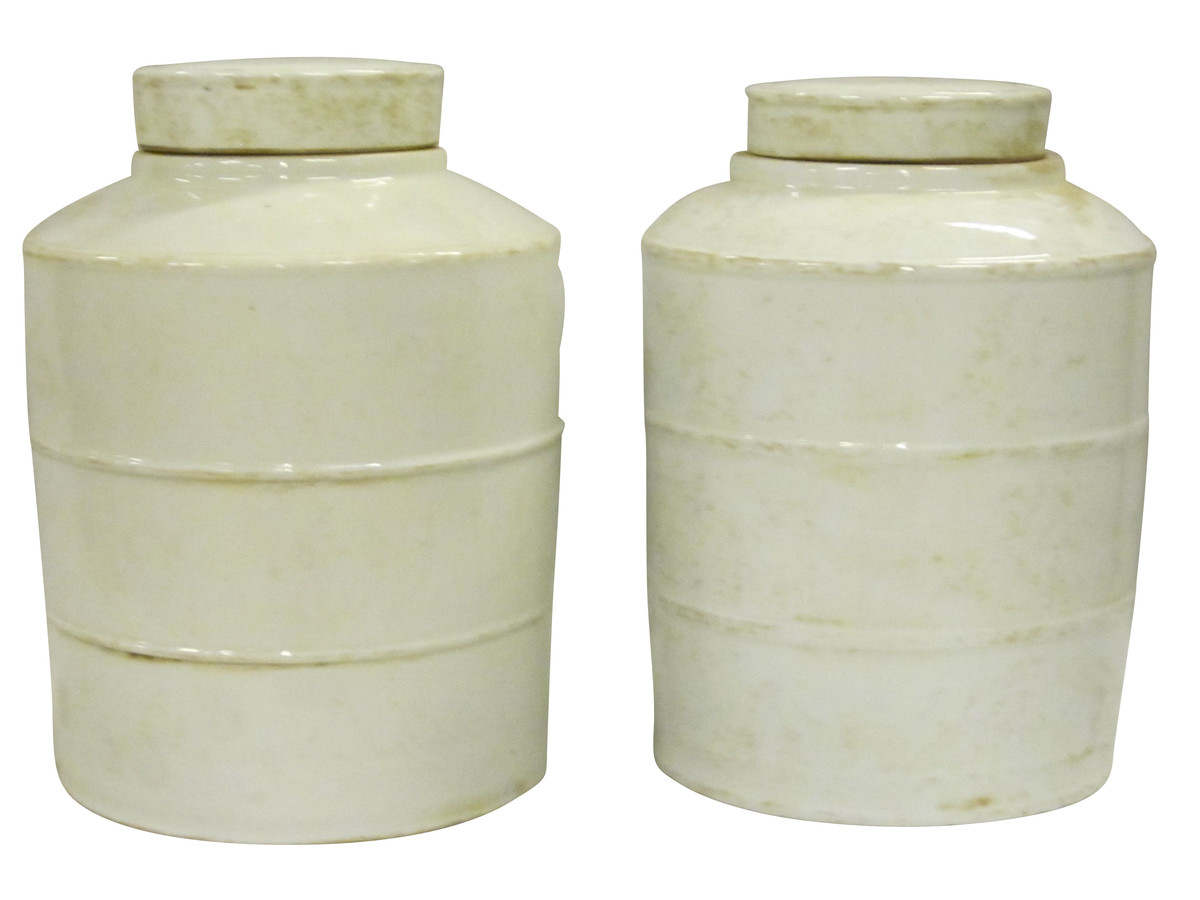 Ceramic Jars With Lids Balsamo Antiques Contemporary Chinese Pair Ceramic