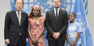 UN Secretary-General Ban Ki-moon poses for a group photo with three of the speakers who addressed the opening segment of the signature ceremony at the UN in New York recently. Shown from left to right are: Hindou Oumarou Ibrahim (from Chad), civil society representative; UN Messenger of Peace, Leonardo DiCaprio, Getrude Clement, l6-year old radio reporter from Tanzania, and youth representative and climate advocate with the UN Children's Fund (UNICEF). UN Photo: Mark Garten.
