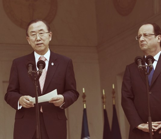 Shown here is UN Secretary-General Ban Ki-moon on the left with President of France, FrancoisHollande on the right , during a meeting at UN Headquarters in New York. The terrorist attack onJuly 14 in Nice was condemned by the Secretary-General. UN Photo/Evan Schneider