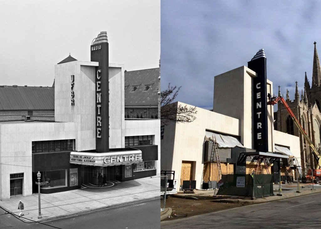 Left: Centre Theatre, July 19, 1939. BG&E Collection, Baltimore Museum of Industry, BGE.12520. Right: Centre Theatre, January 2015. Courtesy  Eric Hatch.