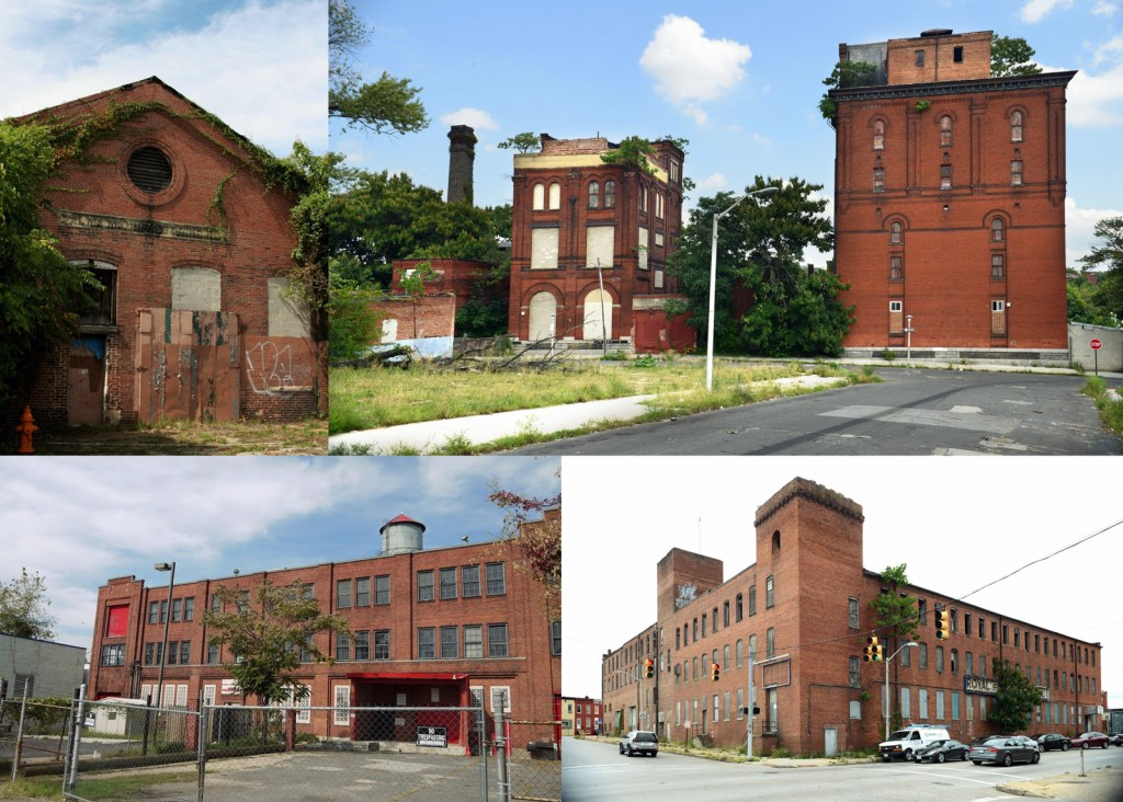 Photographs of Alma Manufacturing Company (top left), Eigenbrot Brewery (top right), Ward Bakery Company (bottom left), and 510 S. Monroe Street (bottom right).