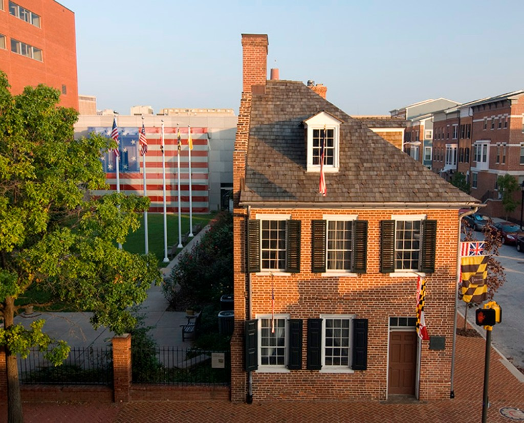 An aerial view of the Star-Spangled Banner Flag House and Museum, Mary Pickersgill's home on Pratt Street. Courtesy the  Star-Spangled Banner Flag House and Museum.