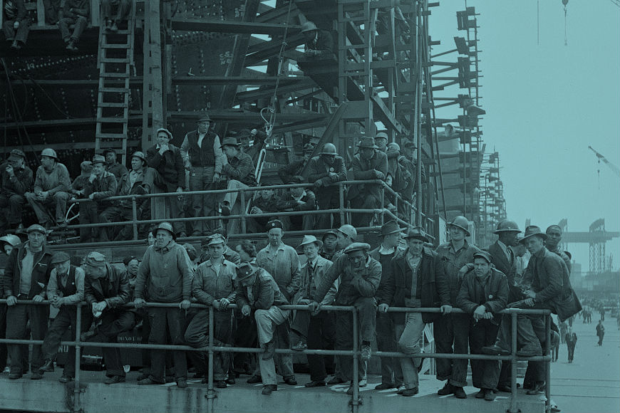 Photograph of shipyard workers watching a launching ceremony, Arthur S. Siegel, 1943 May. Library of Congress,