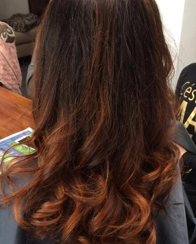 bamhairstyle balayage balayageombre orange brown colorful springhaircolor hairstyle curls greatwork
