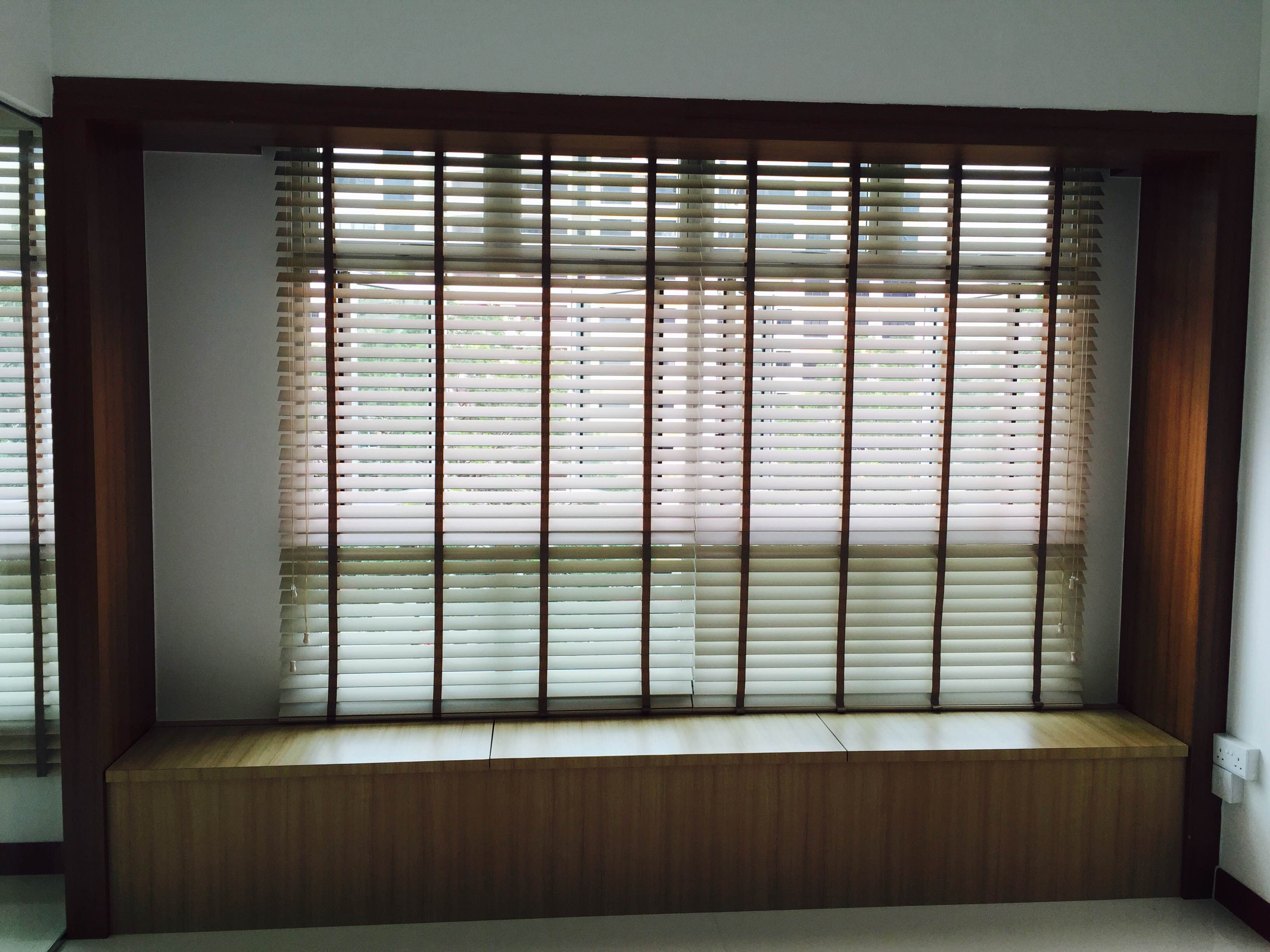 White Timber Blinds Blind Studio Bamboo Chicks And Blinds In Singapore