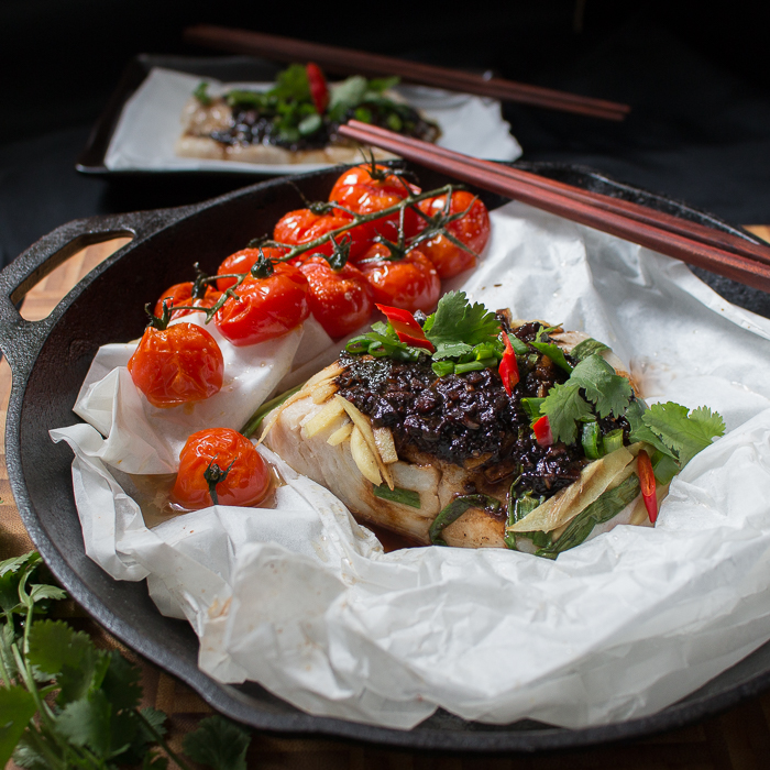 Baked Cod Parcels with Black Bean Sauce is made with succulent black ...