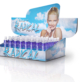 radical tan ampule mini salon counter top display