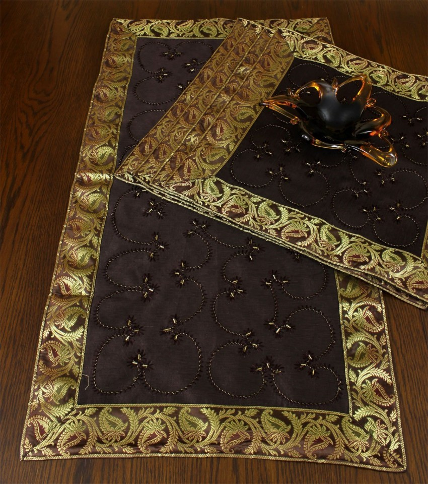 Brown Duvet Cover Hand Embroidered Table Placemat Set, Set Of 5 | Banarsi