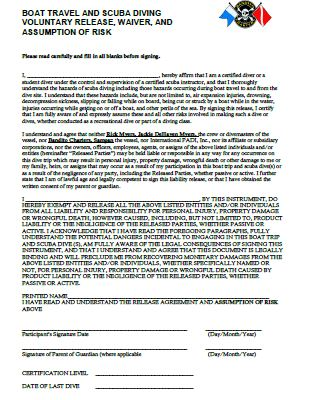 Liability Release Form - Bandito Charters - liability release form