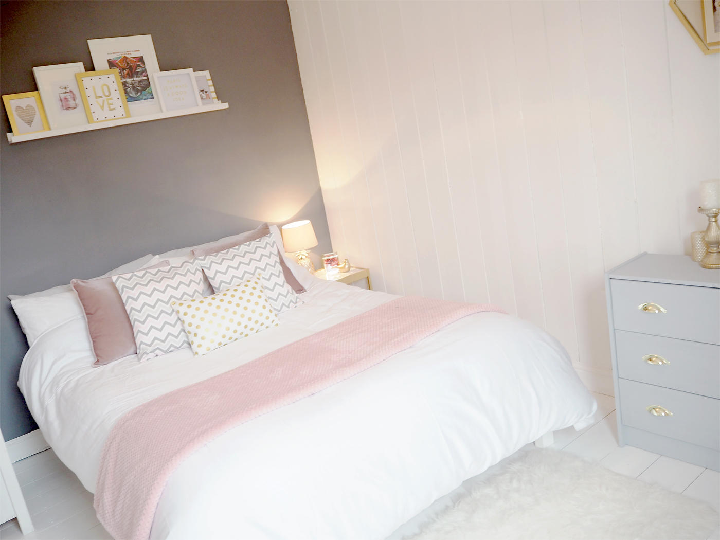 Bedroom Inspiration Grey Bed Pink And Grey Bedroom Makeover Bang On Style