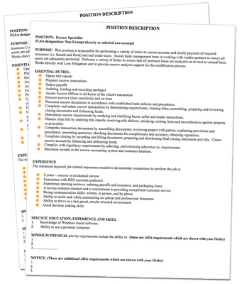 Bank HR Job descriptions for Banks - job duty template