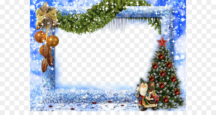 Christmas Picture frame New Year - Blue Christmas Frame png download