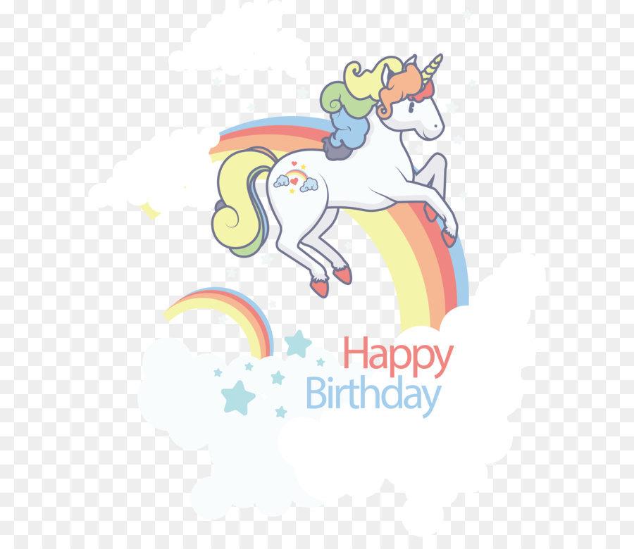 Birthday Template Clip art - A unicorn on a seven colored rainbow - unicorn template