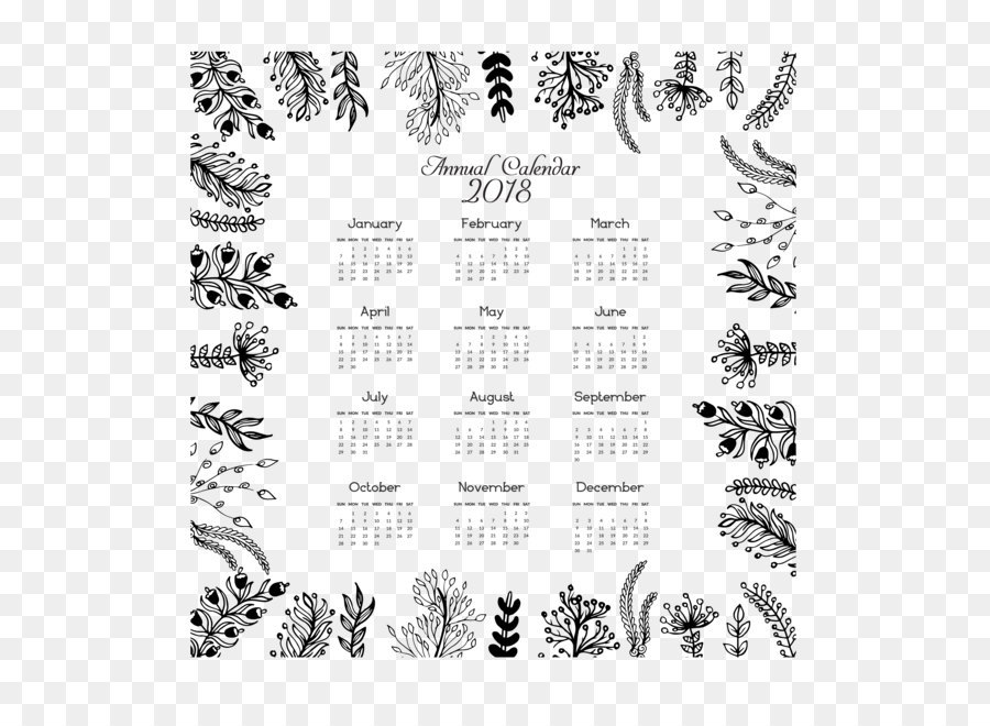 Calendar Euclidean vector Template Icon - Leaf frame 2018 calendar
