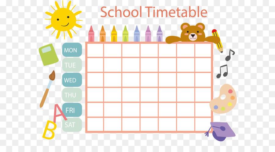 School timetable Schedule Template Clip art - Pastel crayon schedule