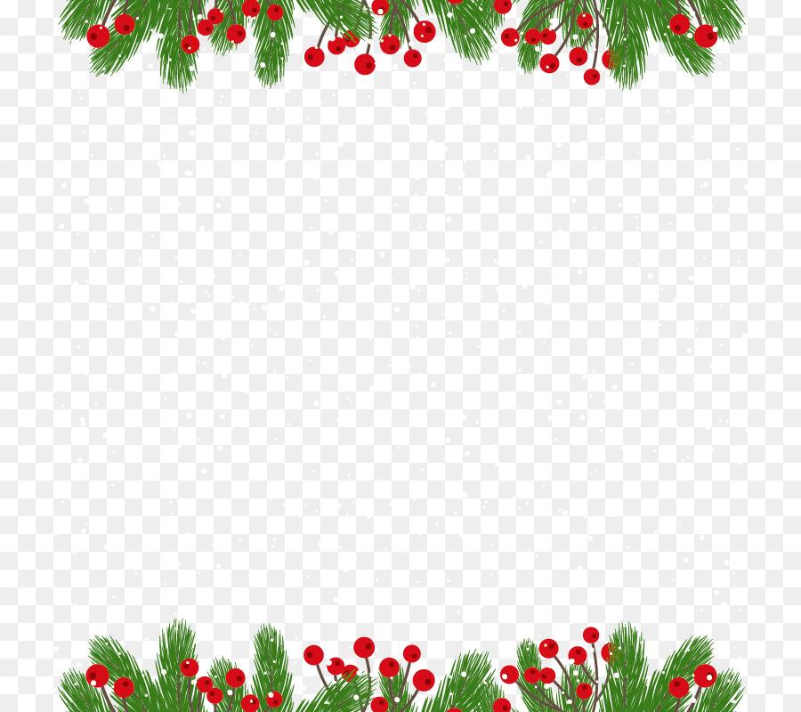 Christmas card New Year Gift - Green pine needles border png