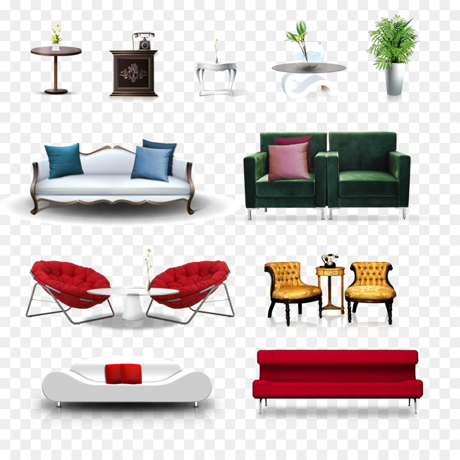 Sofa Set Vector Png Table Furniture Living Room Chair Furniture Vector Png Download