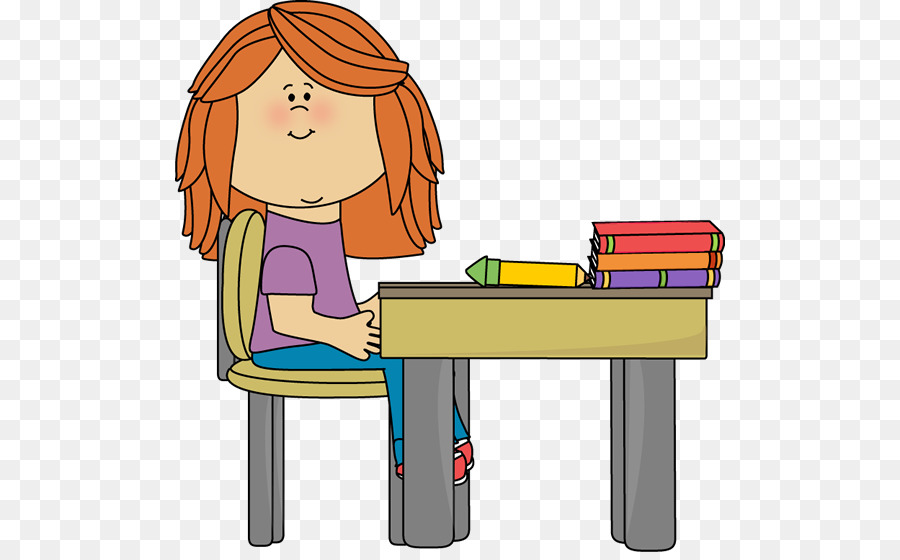 Concentrated Attractive Female Student Sitting At Desk In