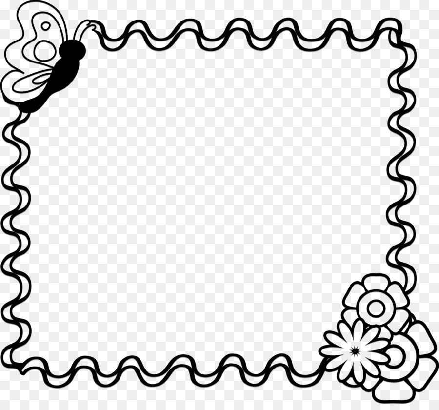 Mothers Day Black and white Clip art - Flower Border Design Black