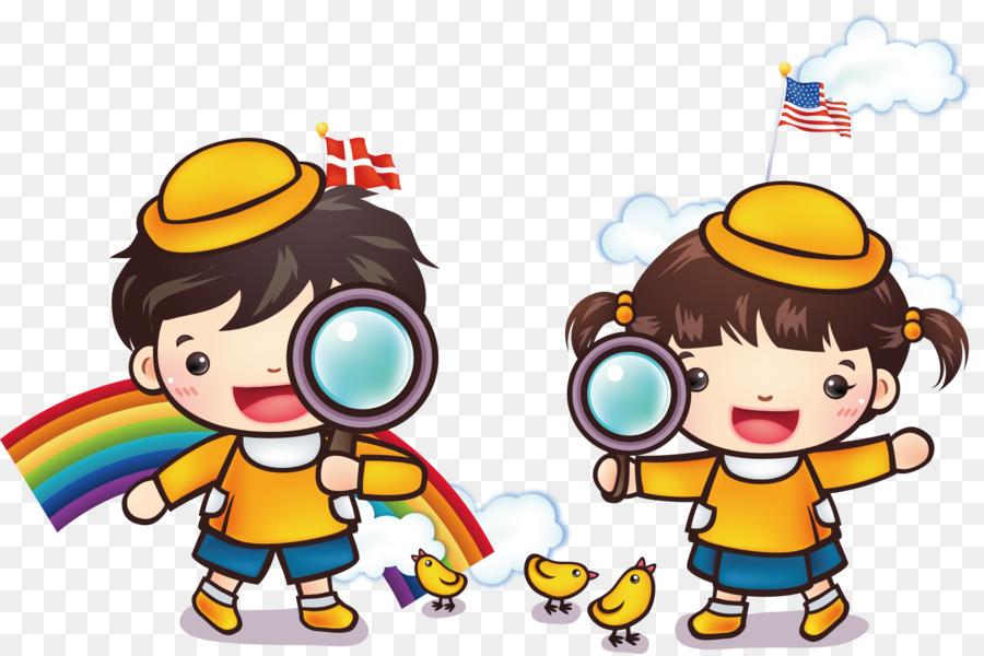 Cartoon Art Museum Illustration - Children\u0027s magnifying glass play - cartoon children play