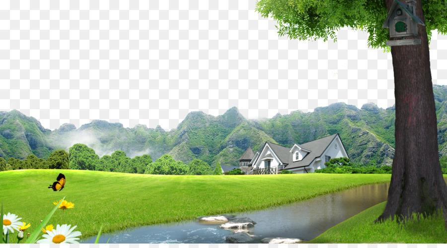 Green Arrow Wallpaper Hd Lawn Landscape Villa Town Landscape Background Material