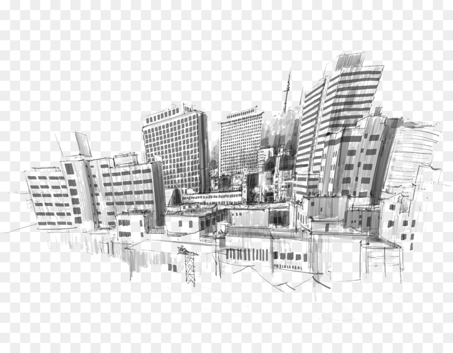 Black And White Geometric Wallpaper Drawing City Sketch City Portrait Illustration Picture