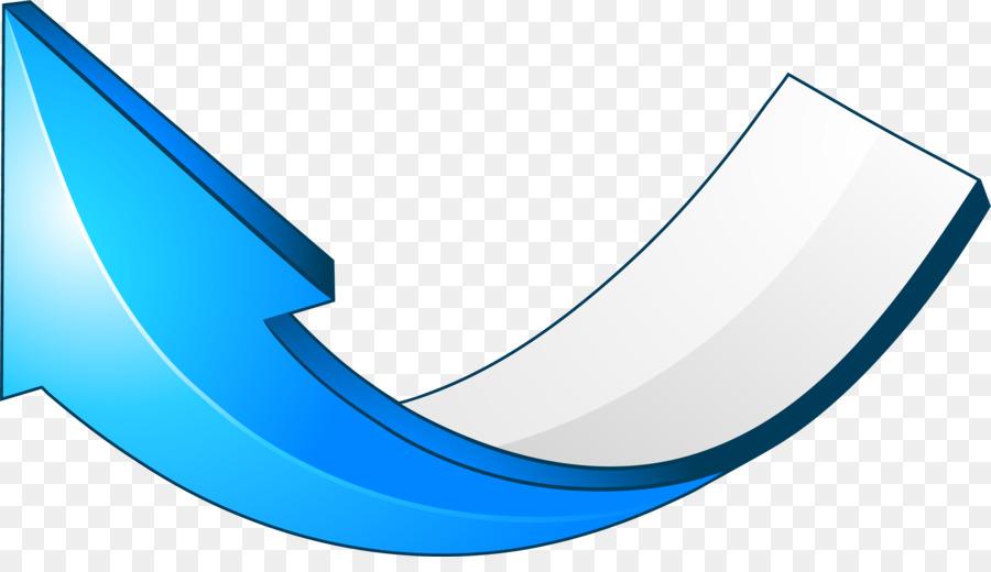 Curve Arrow - Blue simple curve arrow png download - 3001*1687