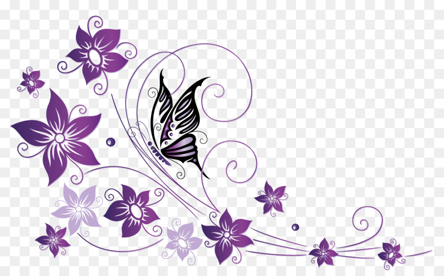 Blumenranke Ecke Clipart Butterfly Net Violet Tendril Flower - Butterfly Border Png Download - 1200*744 - Free