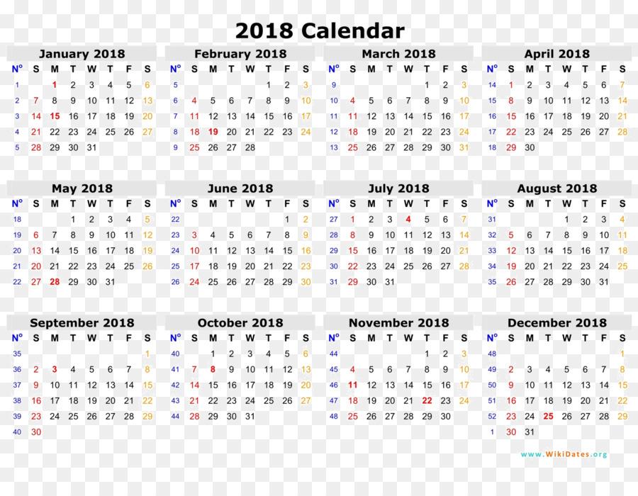 Online calendar ISO week date Template Year - 2018 calendar png