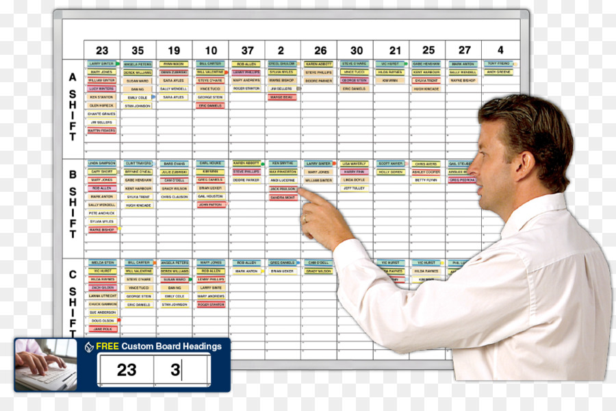 Schedule Dry-Erase Boards Shift work Job Scheduling - calendars