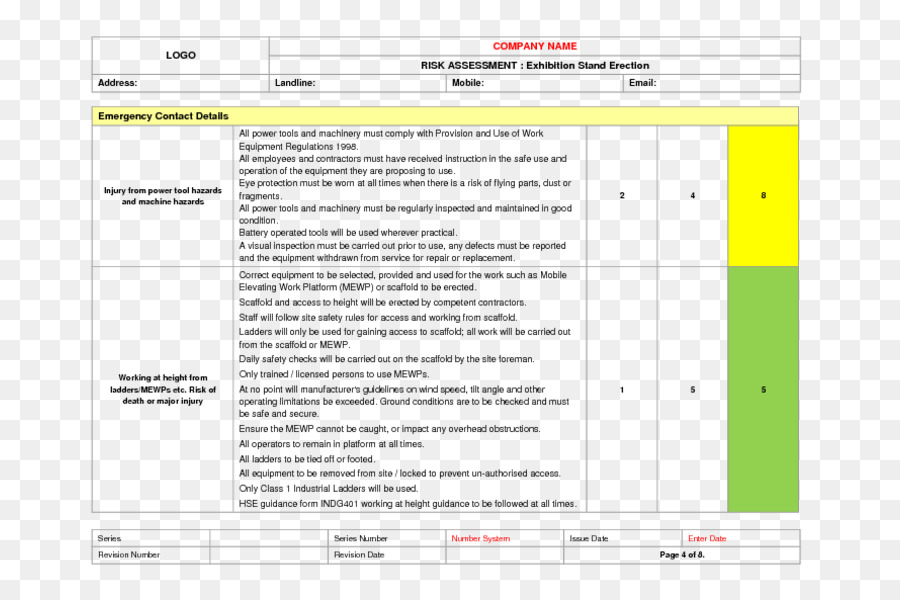 Risk assessment Document Template Contract - going away png download