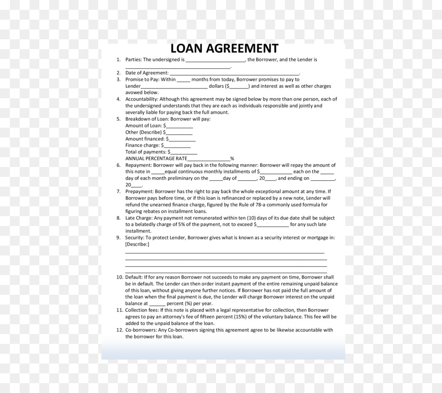Loan agreement Contract Mortgage loan Document - others png download