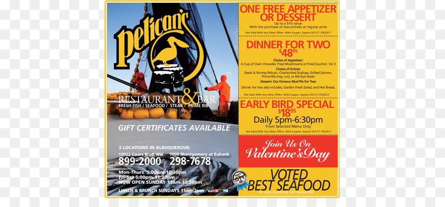 Pelican\u0027s Restaurant Coupon Flyer - Restaurant Menus Online png