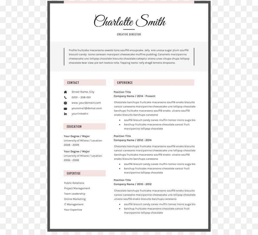 Résumé Template Microsoft Word Curriculum vitae Font - Editable