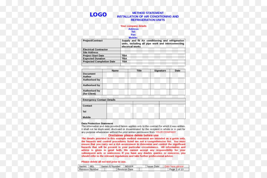 Document Work method statement Résumé Construction Safety - plane
