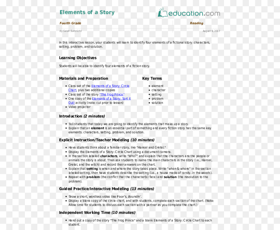 Lesson plan Writing Essay First grade - learning educational element