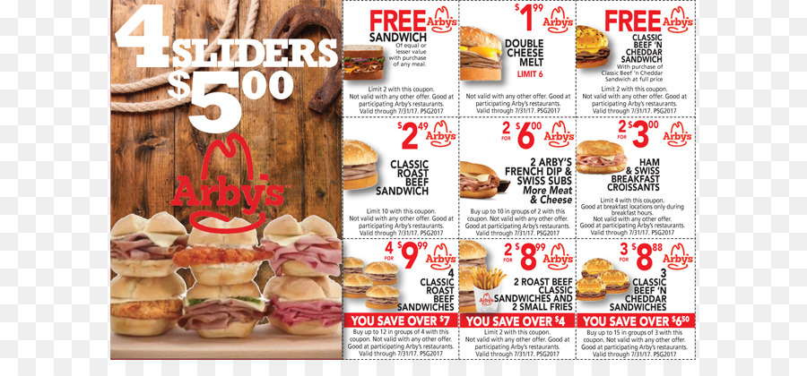 Roast beef French fries Fast food Arby\u0027s Coupon - Fast Food Flyer