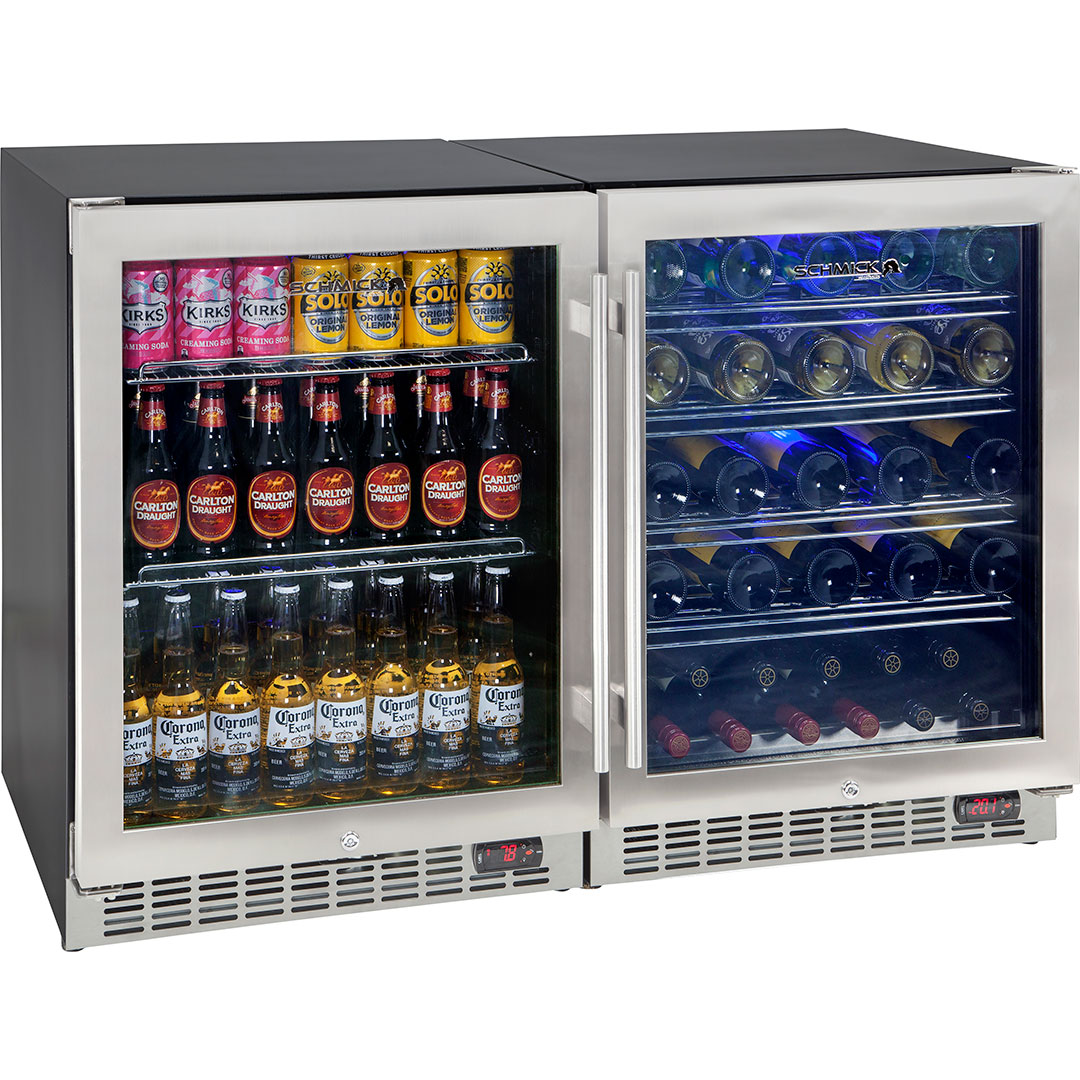 Bar Fridges Brisbane Matching Combination 300 Litre Dual Zone Beer And Wine Glass Door Bar Fridge