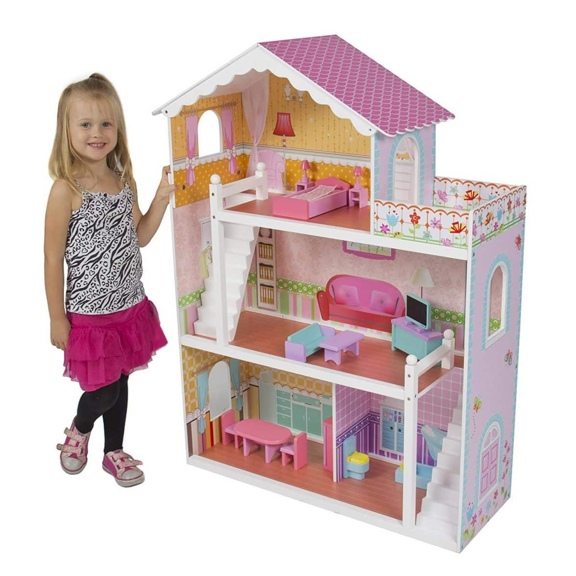 The Dolls House Large Children 39s Wooden Dollhouse Fits Barbie Doll House