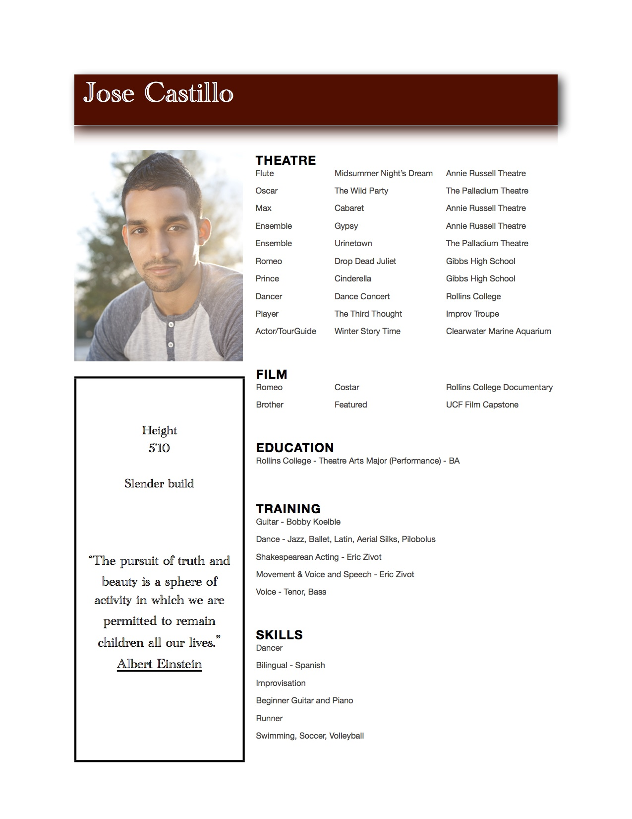 Actor Resume Best Template Collection Free Actor Resume Template  Acting Resumes