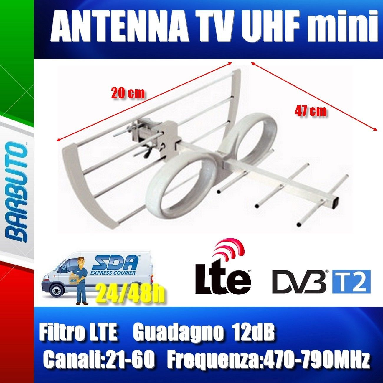 Tv Digitale Antenna Tv Digitale Terrestre Hd Mini Uhf 12db Anti Interferenze Lte