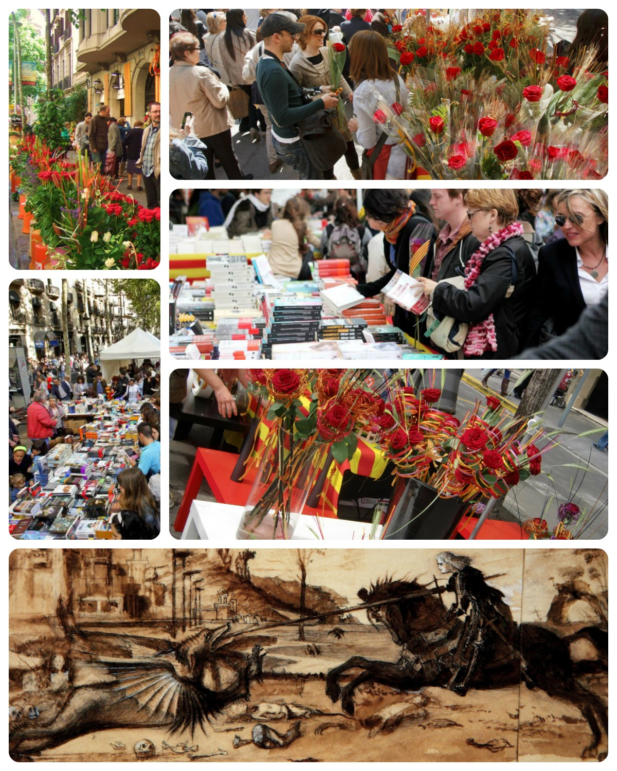 Dia Del Libro Sant Jordi St George's Day In Barcelona Known As Sant Jordi