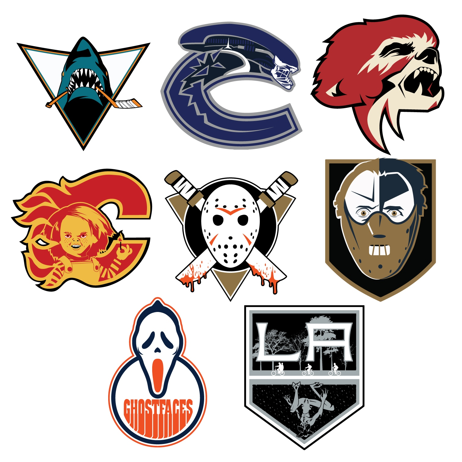 Hockey Logos Graphic Artist Gives Nhl Logos Incredible Halloween Makeovers