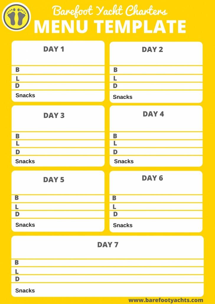 Menu Template Barefoot Yacht Charters - 5 day menu template