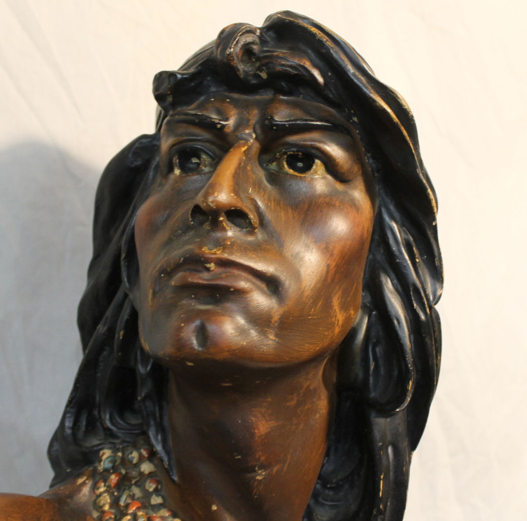 Clocks Bargain John's Antiques | Chalkware Hiawatha Indian Bust